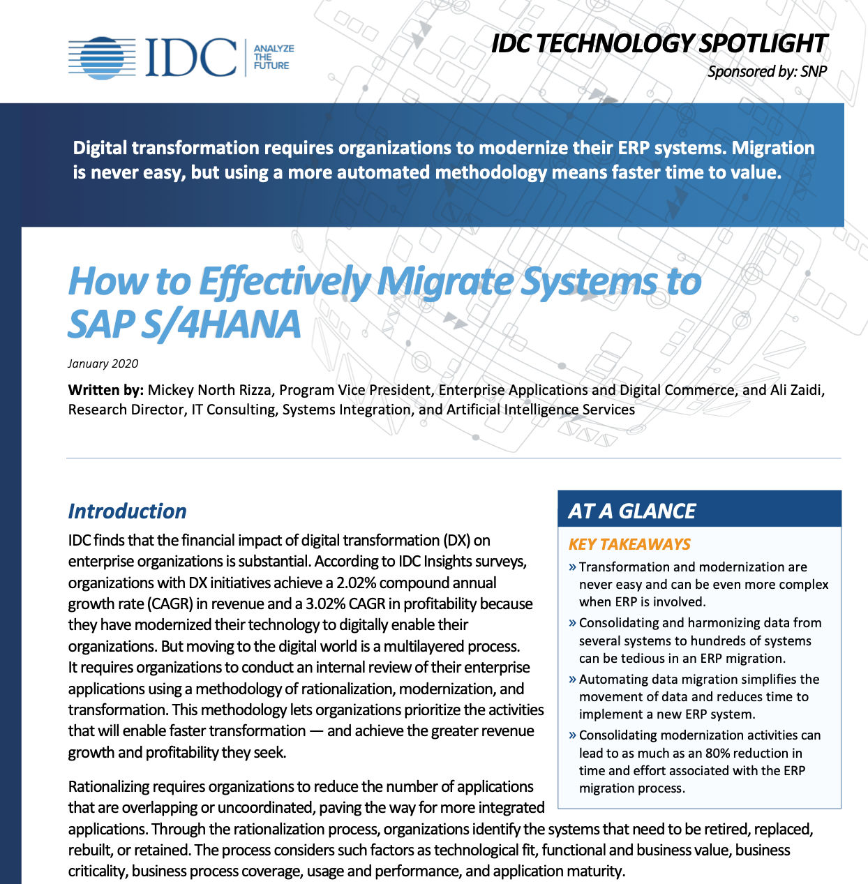 IDC White Paper: How to Effectively Migrate to SAP S/4HANA Book